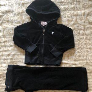 Juicy Couture Black Velour Set 2T